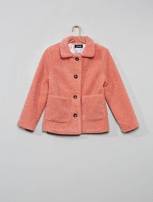 Giacca corta effetto lana bouclé                                         ROSA