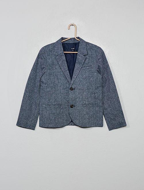 Giacca da completo in lino e cotone                                         blu