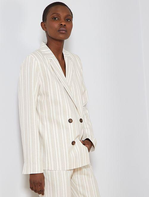 Giacca da tailleur 57% lino                             BEIGE Donna