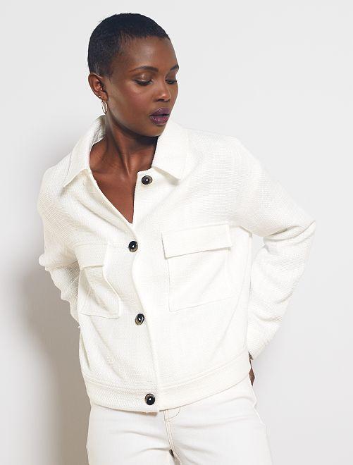 Giacca dritta in tweed                                                     bianco neve