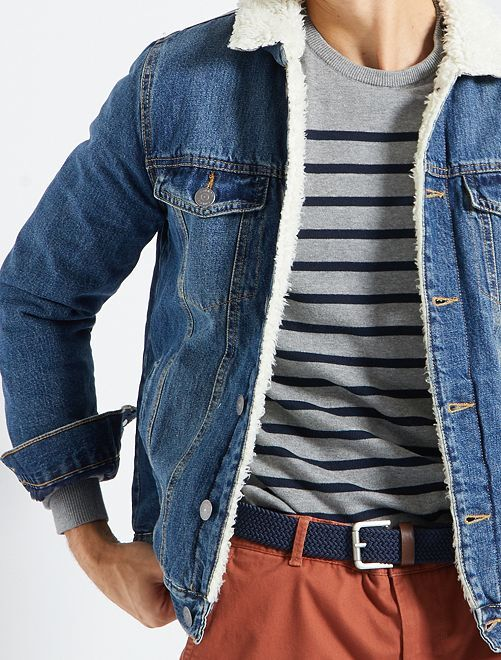 Giacca in jeans con fodera tipo sherpa                                         BLU