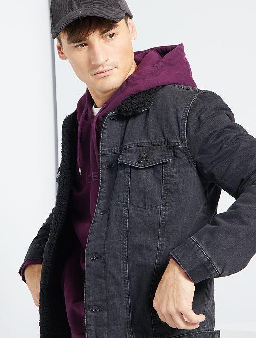 Giacca in jeans con fodera tipo sherpa                             GRIGIO