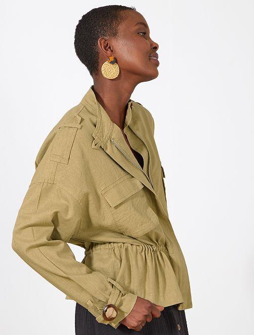 Giacca sahariana effetto lino                                         KAKI Donna