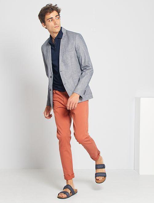 Giacca slim lino e cotone                                         grigio