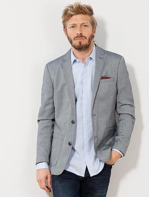 Giacca slim maglia bicolore                             blu marino/bianco Uomo