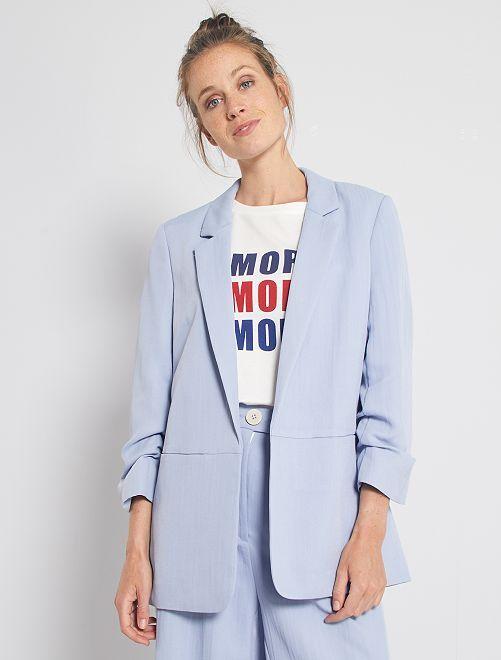 Giacca tailleur maniche con risvolto                                         blu
