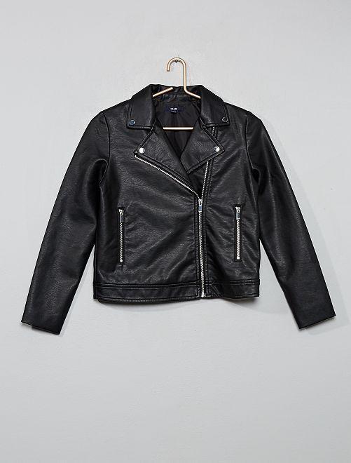 Giubbotto con zip stile motociclista                                         nero