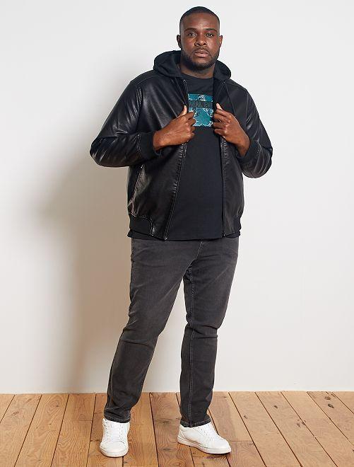 Giubbotto similpelle con cappuccio                             nero