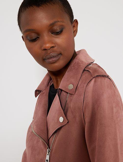 Giubbotto tessuto effetto camoscio                                                     ROSA Donna
