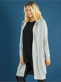 Taglie forti donna Golfino lungo con cappuccio maglia luccicante