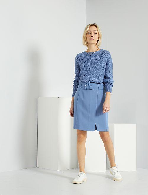 Gonna con cintura                                                                 grigio blu