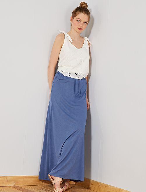 Gonna lunga maglia stretch                                             blu Donna