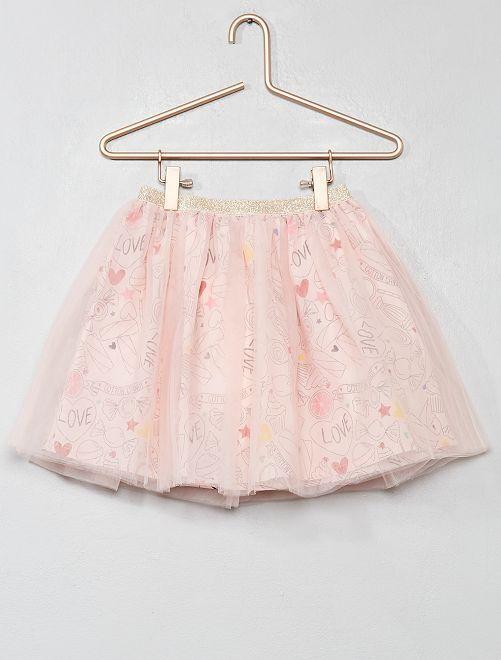 Gonna stampata tulle                                                                 rosa caramelle Infanzia bambina