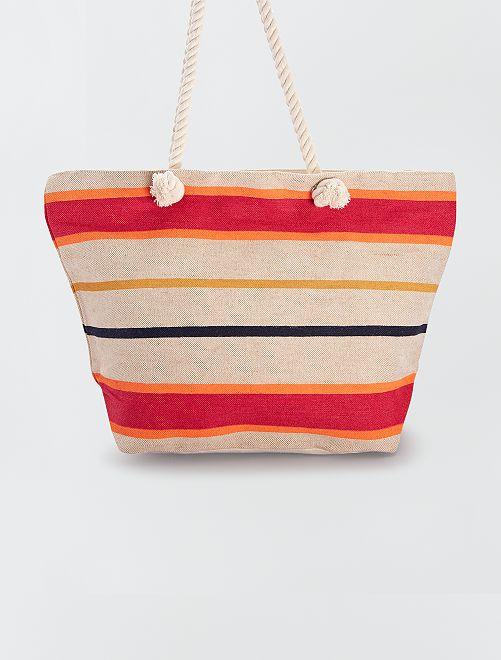 Grande shopping bag con manici in corda                             a righe