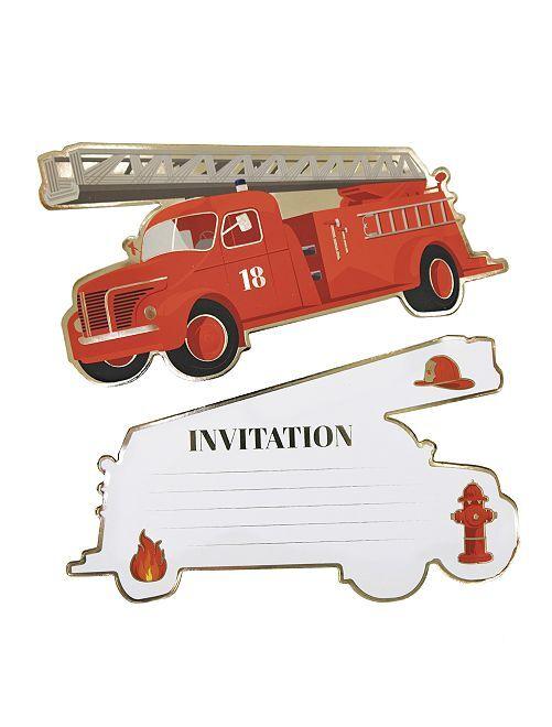 Invito per una festa sul tema 'pompieri'                             rosso