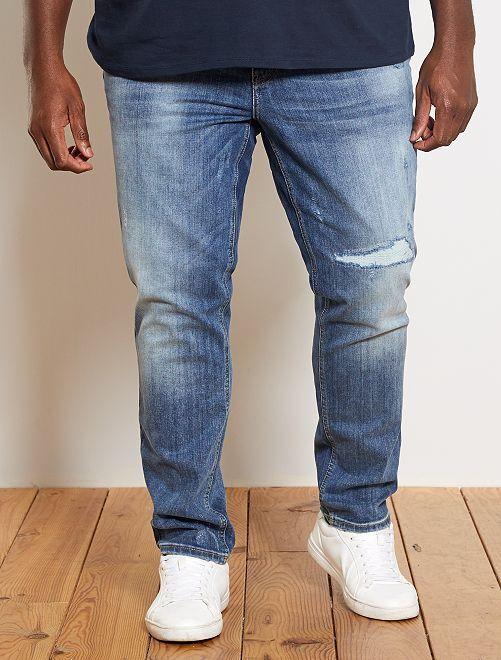 Jeans fitted abrasioni                             BLU