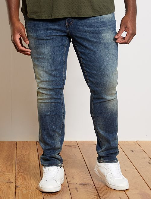 Jeans fitted effetto usurato                             BLU