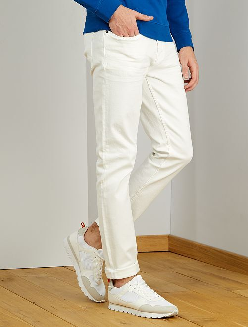 Jeans fitted L38 + 1 m 95                             bianco