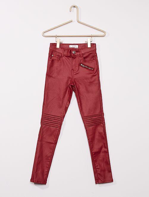 Jeans in denim cerato per bambini eleganti                                         ROSSO