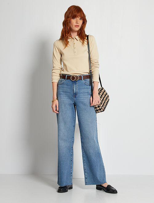Jeans larghi a vita alta                                         BLU