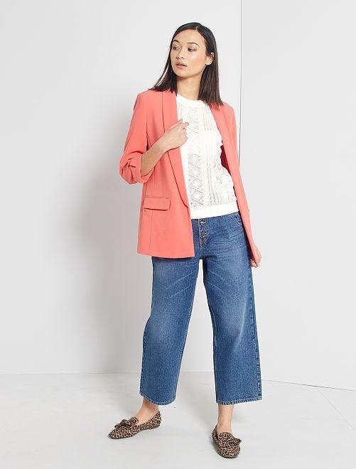 Jeans larghi con bottoni                             BLU