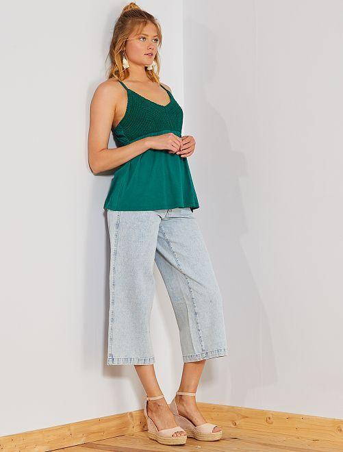 Jeans larghi taglio cropped                             BLU Donna