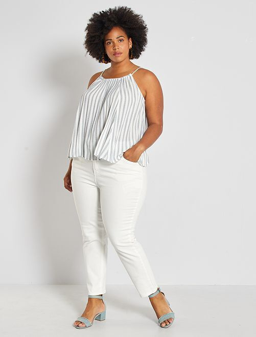 Jeans mom 7/8 in twill stretch                                                     bianco neve