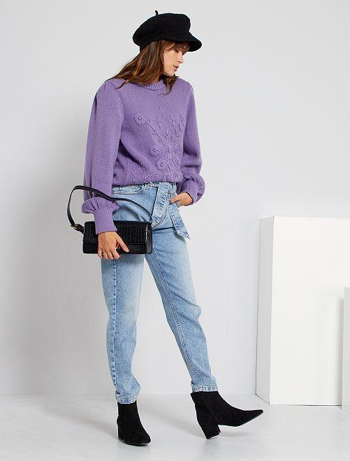 Jeans mom con cintura                     BLU