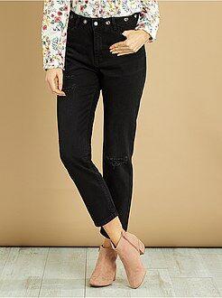 Jeans nero - Jeans mom destroy vita molto alta - Kiabi