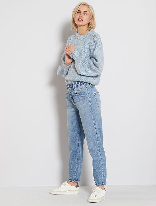Jeans mom elastico in vita                                                     BLU