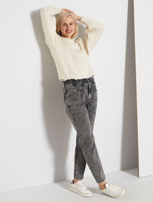 Jeans mom elastico in vita                                         GRIGIO