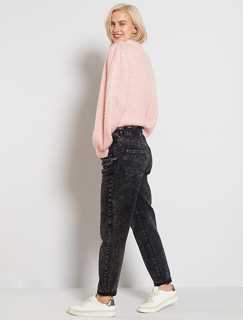 Jeans mom elastico in vita                                         NERO
