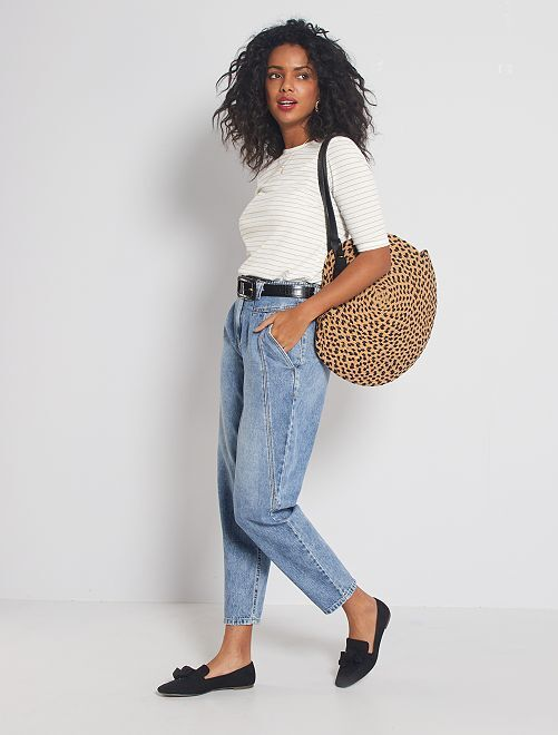 Jeans mom fit a vita alta                             BLU