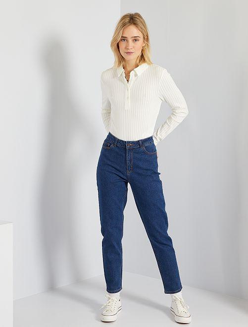 Jeans mom vita molto alta                                                     BLU Donna