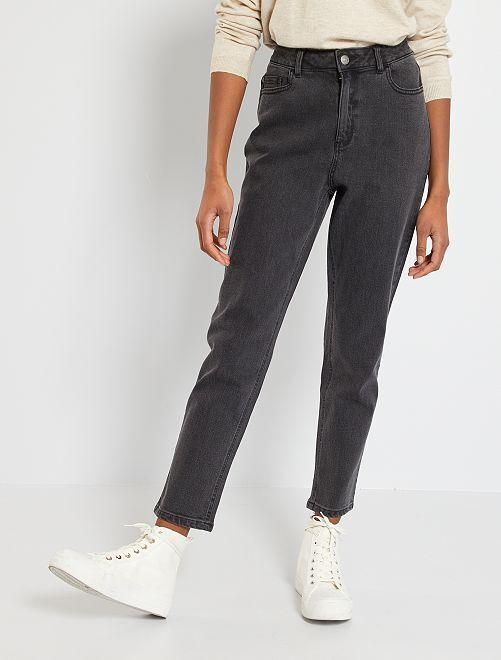 Jeans mom vita molto alta                             NERO Donna