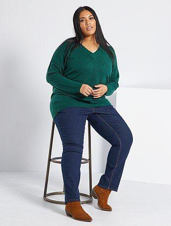 Taglie forti donna - Jeans regular denim stretch lunghezza 75 cm - Kiabi