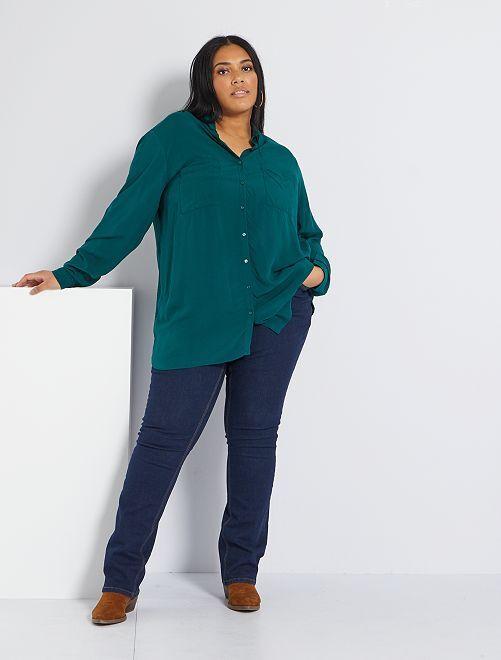 Jeans regular denim stretch lunghezza 82 cm                                                                 blu
