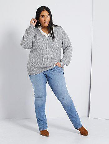 Taglie forti donna - Jeans regular denim stretch lunghezza 82 cm - Kiabi