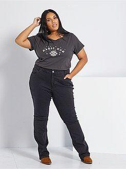 Jeans nero - Jeans regular denim stretch lunghezza 82 cm - Kiabi