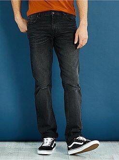 Jeans - Jeans regular puro cotone abrasioni leggere - Kiabi