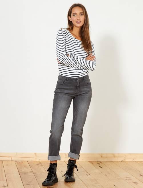 Jeans regular vita alta                                                     grigio scuro Donna