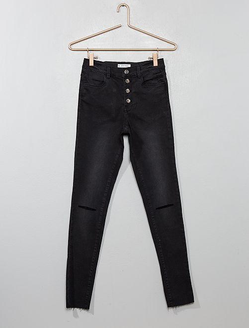 Jeans skinny abbottonati                                         nero Ragazza