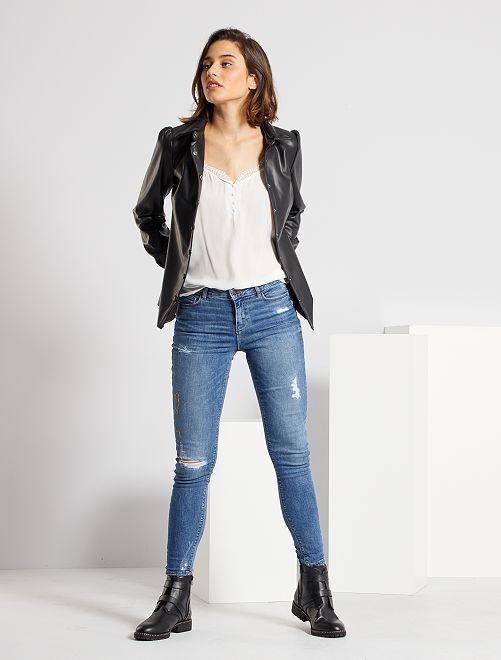 Jeans skinny abrasioni vita molto alta                                         BLU