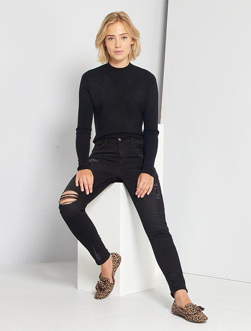 Jeans skinny abrasioni vita molto alta                             NERO Donna