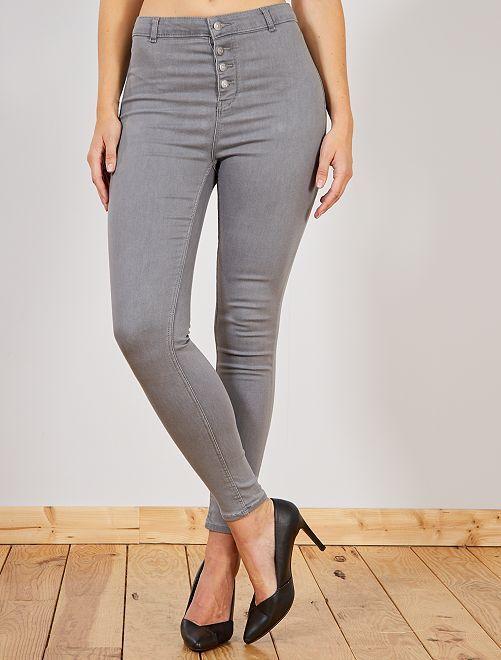 Jeans skinny brachetta abbottonata                                                                 GRIGIO Donna