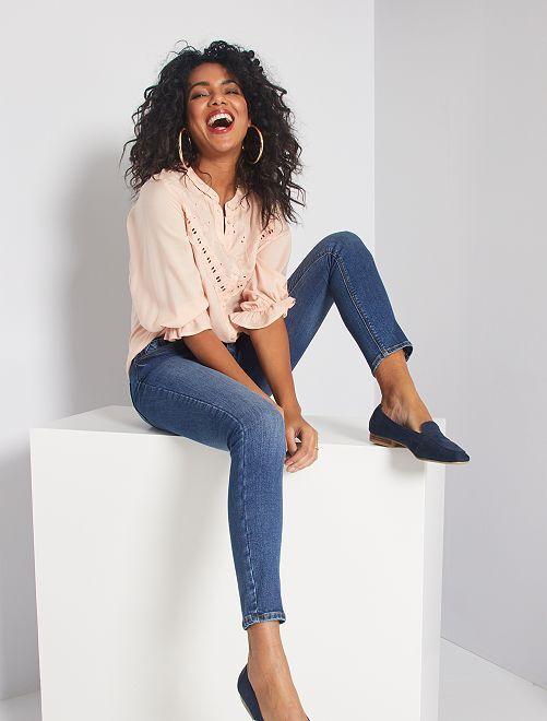 Jeans skinny con cintura con fibbia                             BLU