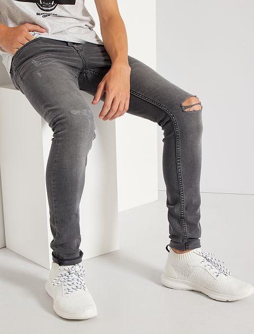 Jeans skinny destroy                                 GRIGIO