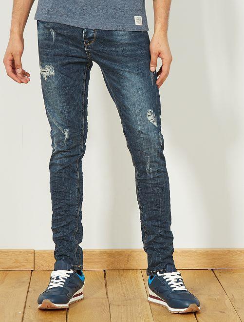 Jeans skinny destroy                             GRIGIO Uomo