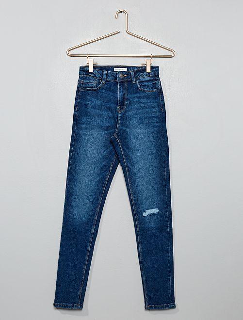 Jeans skinny destroy vita alta                                                     BLU