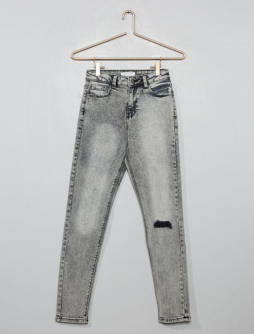 Jeans skinny destroy vita alta                                                     GRIGIO